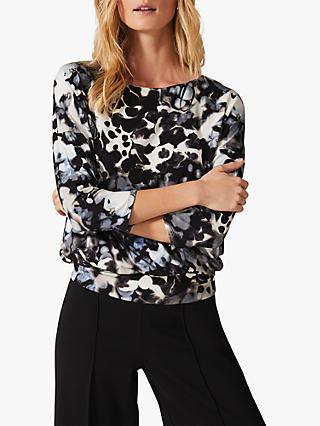Phase Eight Zina Smudge Print Jersey Top, Ink/Multi