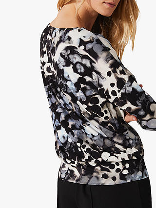 Buy Phase Eight Zina Smudge Print Jersey Top, Ink/Multi, 12 Online at johnlewis.com