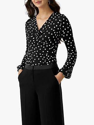 Pure Collection Spot Jersey Wrap Top, Monochrome