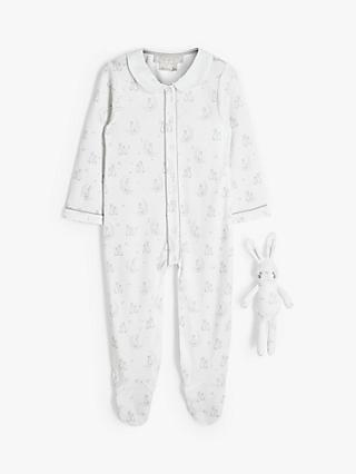 John Lewis & Partners Heirloom Collection Baby Bunny Sleepsuit & Toy, White