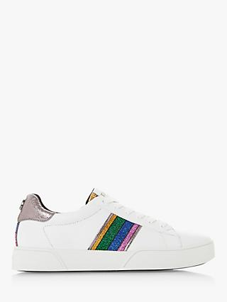 Dune Elsie Lace Up Leather Trainers, White/Multi
