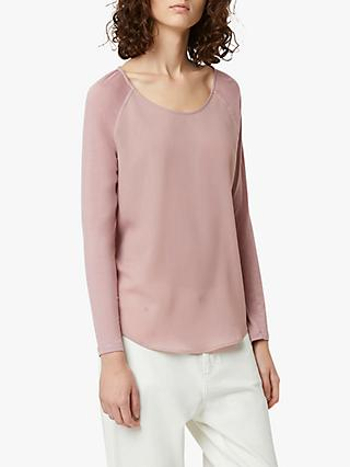 French Connection Crepe Raglan Sleeve Top, Cinder Pink