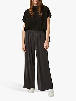 French Connection Renya Cupro Jersey Culottes, Black