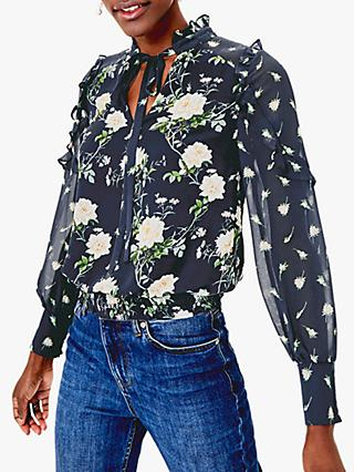 Oasis Ditsy Ruffle Blouse, Multi