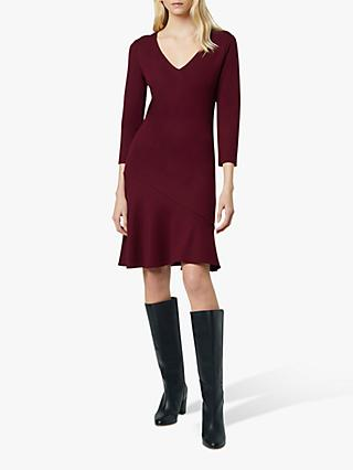 French Connection Sancia Jersey V Neck Dress, Dark Berry Blush