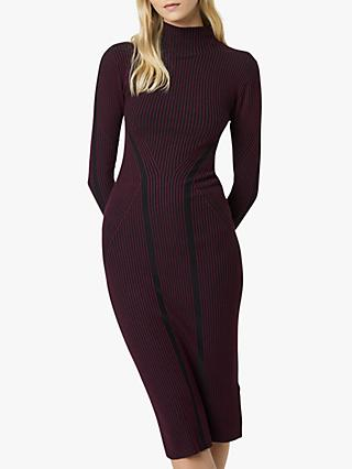 French Connection Simona Stripe Bodycon Midi Dress, Berry Blush/Black