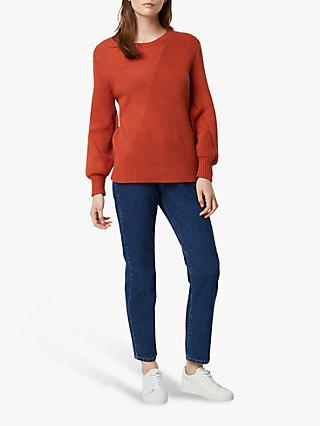 French Connection Yasmina Mozart Crew Neck Jumper, Cinnamon Stick