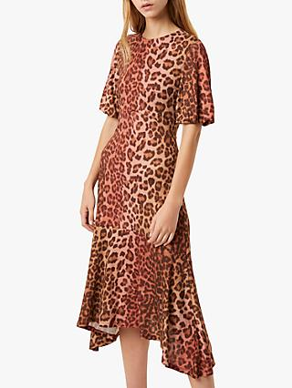 French Connection Annla Leopard Print Hanky Hem Midi Dress, Casablanca/Rhubarb