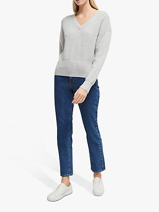 French Connection River Vhari Ribbed Jumper, Light Grey