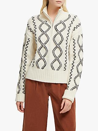 French Connection Susa Cable Knit Zipped Jumper, Cream/Black