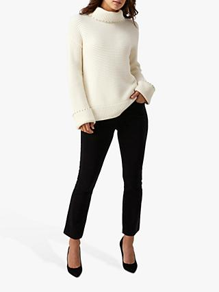 Pure Collection Embellished Ribbed Sweater, Ivory