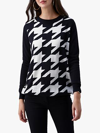 Pure Collection Cashmere Dogtooth Boyfriend Sweater, Black/White