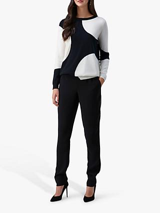 Pure Collection Cashmere Boyfriend Sweater, Black/Soft White