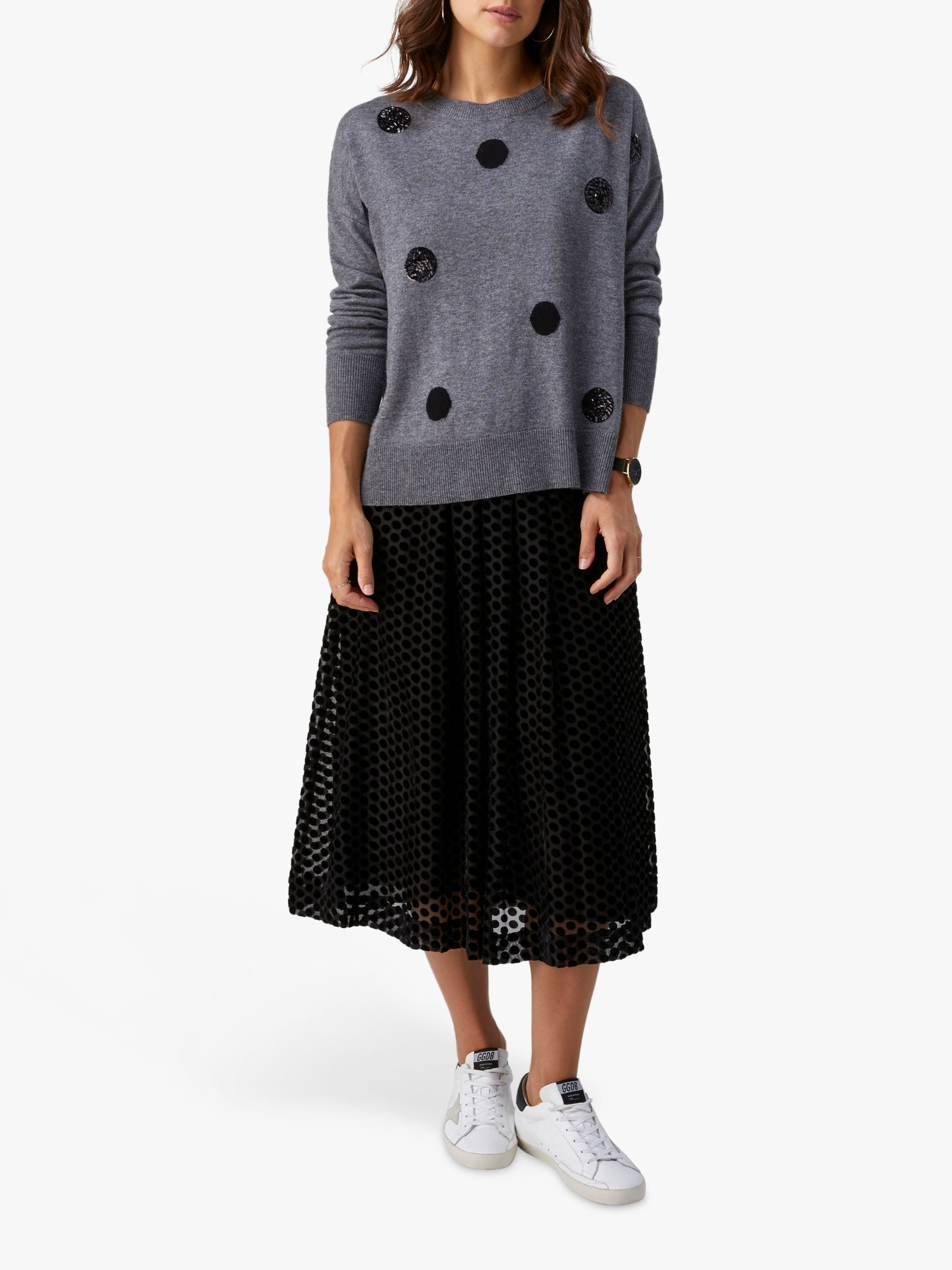 Pure Collection Pure Collection Sequin Split Hem Sweater, Charcoal Spot