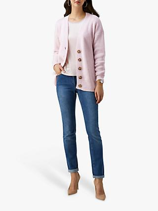 Pure Collection Ribbed Cardigan, Oyster