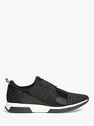 Ted Baker Capela Leather Jacquard Trainers, Black