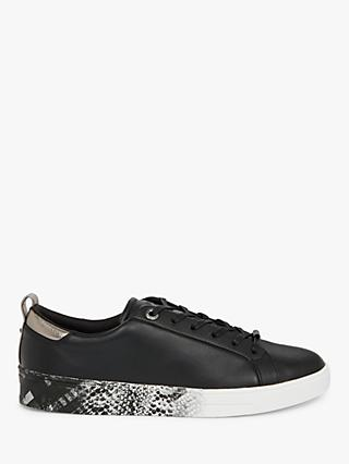 Ted Baker Relina Quartz Print Sole Leather Trainers, Black