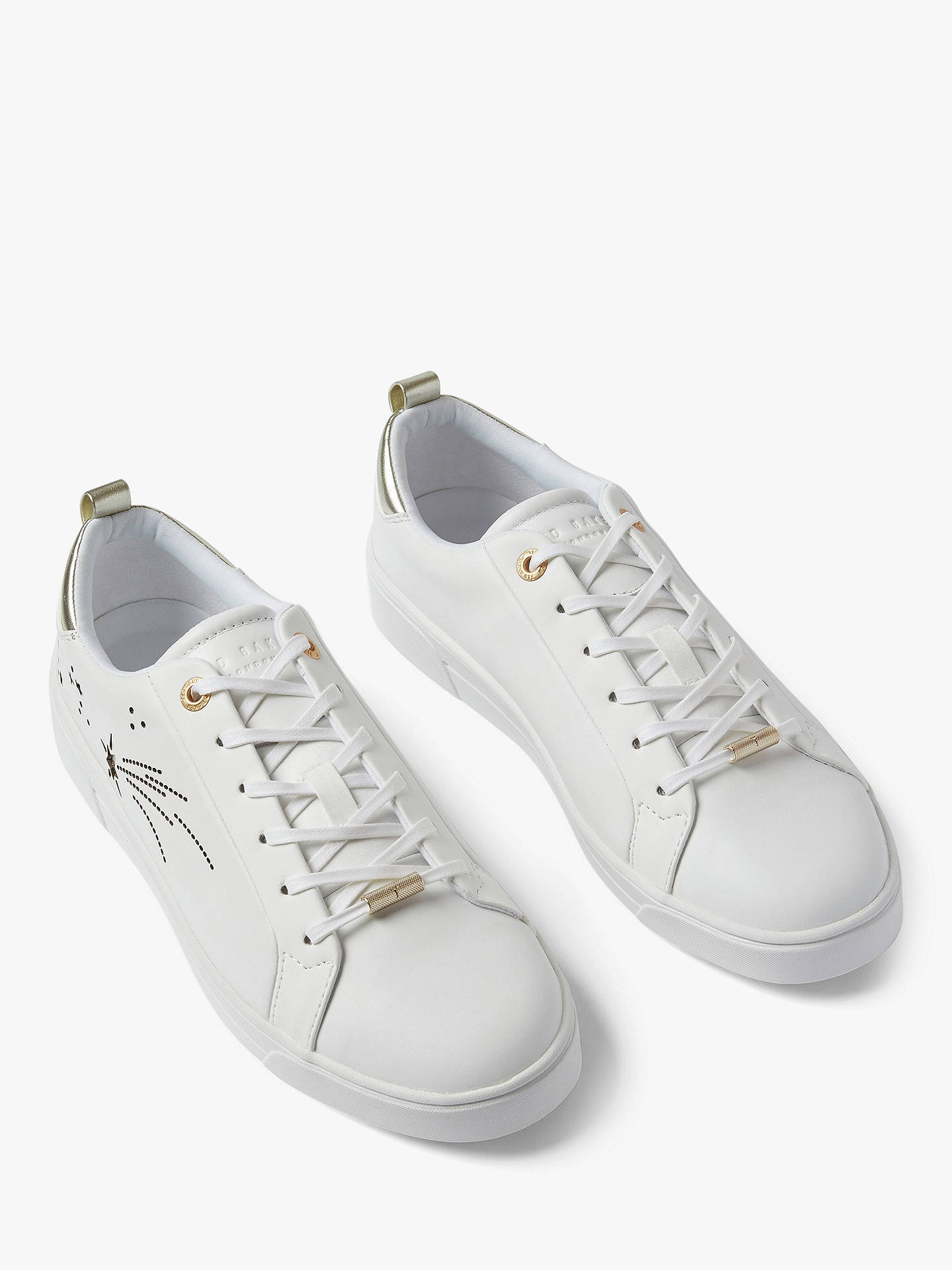 New Womens Ted Baker White Sanaa Leather Trainers Court Lace Up