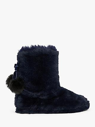 Ted Baker Hammond Faux Fur Slipper Boots, Navy Blue