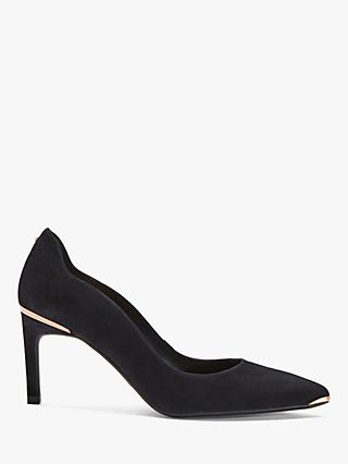 Ted Baker Eriina Stiletto Heel Suede Court Shoes, Dark Blue