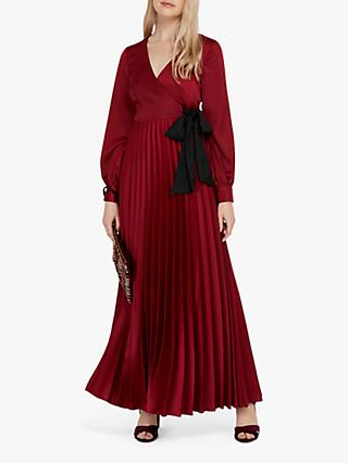 Monsoon Dahlia Satin Wrap Pleated Maxi Dress
