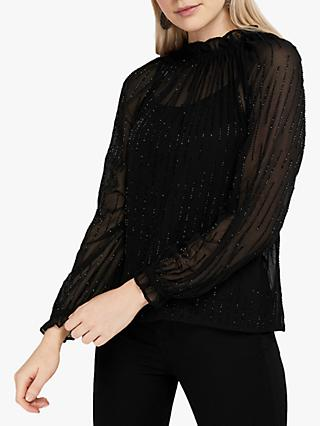 Monsoon Demi Linear Embellished Ruffle Neck Top, Black