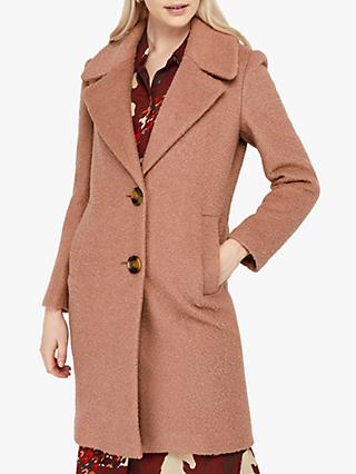 Monsoon Billie Wool Blend Boucle Coat, Soft Pink