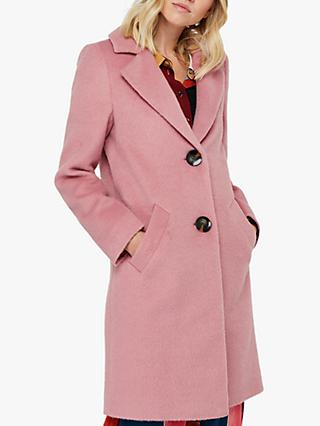 Monsoon Blair Brushed Wool Blend Coat, Soft Pink
