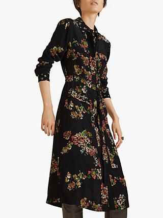 Jigsaw Hydrangea Print Utility Dress, Black