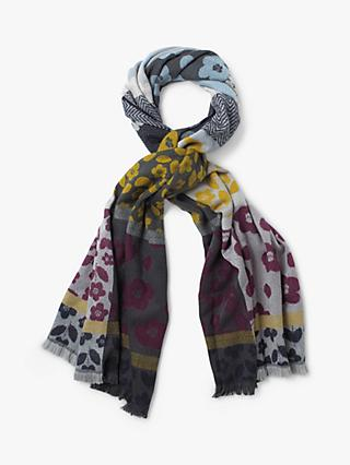 White Stuff Gracie Patchwork Scarf, Plum/Multi