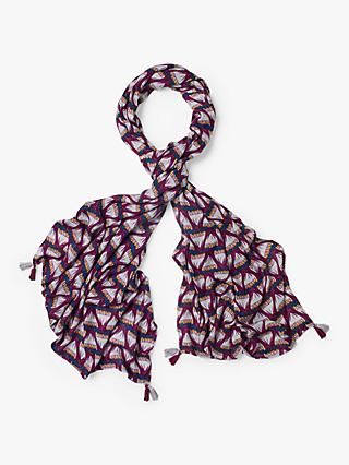 White Stuff Verity Print Scarf, Floral Plum Print