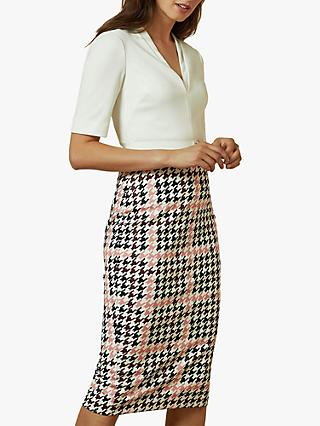 Ted Baker Harlla Houndstooth Bodycon Dress, Ivory