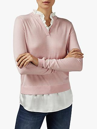 Ted Baker Ilinaa Ruffle Neck Blouse Jumper, Light Pink