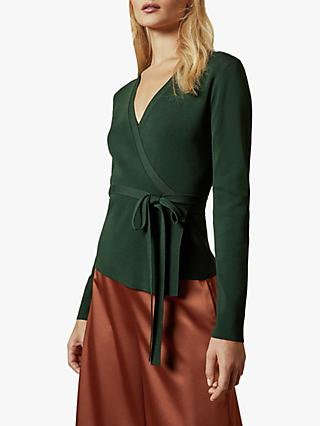 Ted Baker Gworji Long Sleeve Knitted Wrap Top, Dark Green