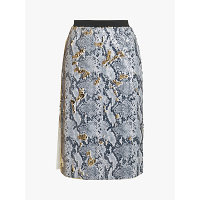Ted Baker Meeoh Snakeskin Midi Skirt, Light Grey