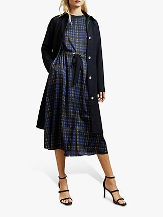 Ted Baker Cohli Check Tie Waist Midi Dress, Blue
