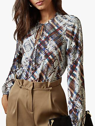 Ted Baker Lyzaa Quartz Print Neck Tie Blouse, Natural Ivory
