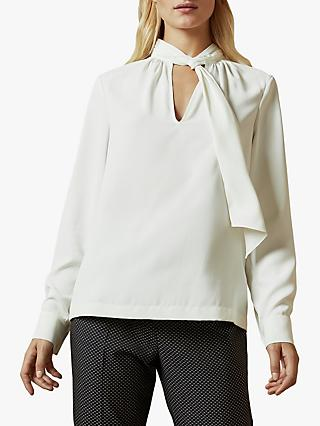 Ted Baker Pammla Gathered Tie Neck Blouse, Ivory