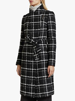 Ted Baker Rosylin Checked Belt Wrap Coat, Black