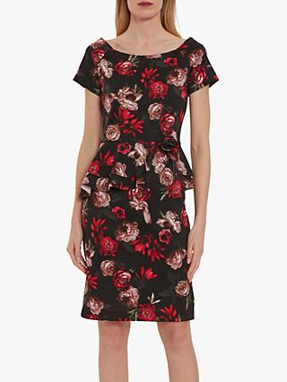 Gina Bacconi Glorielle Floral Dress, Black/Red