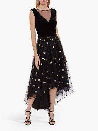 Gina Bacconi Eivet Velvet Chiffon Star Embellished Dress, Black