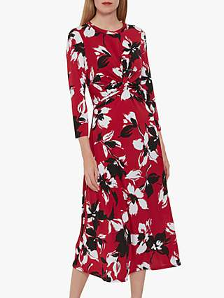 Gina Bacconi Aniko Floral Print Jersey Dress, Claret