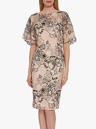 Gina Bacconi Lyska Embroidred Dress, Antique Rose