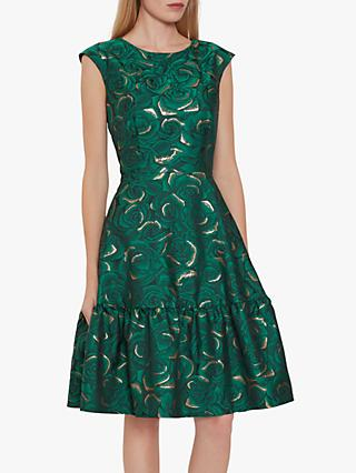 Gina Bacconi Nasra Flared Jacquard Dress, Green/Gold