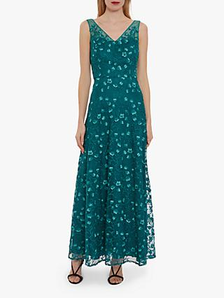 Gina Bacconi Sarielle Floral Motif Maxi Dress, Dark Green
