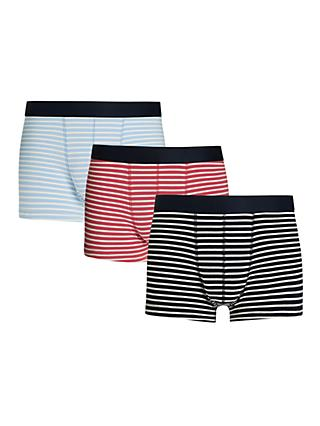 John Lewis & Partners Breton Stripe Trunks, Pack of 3, Multi