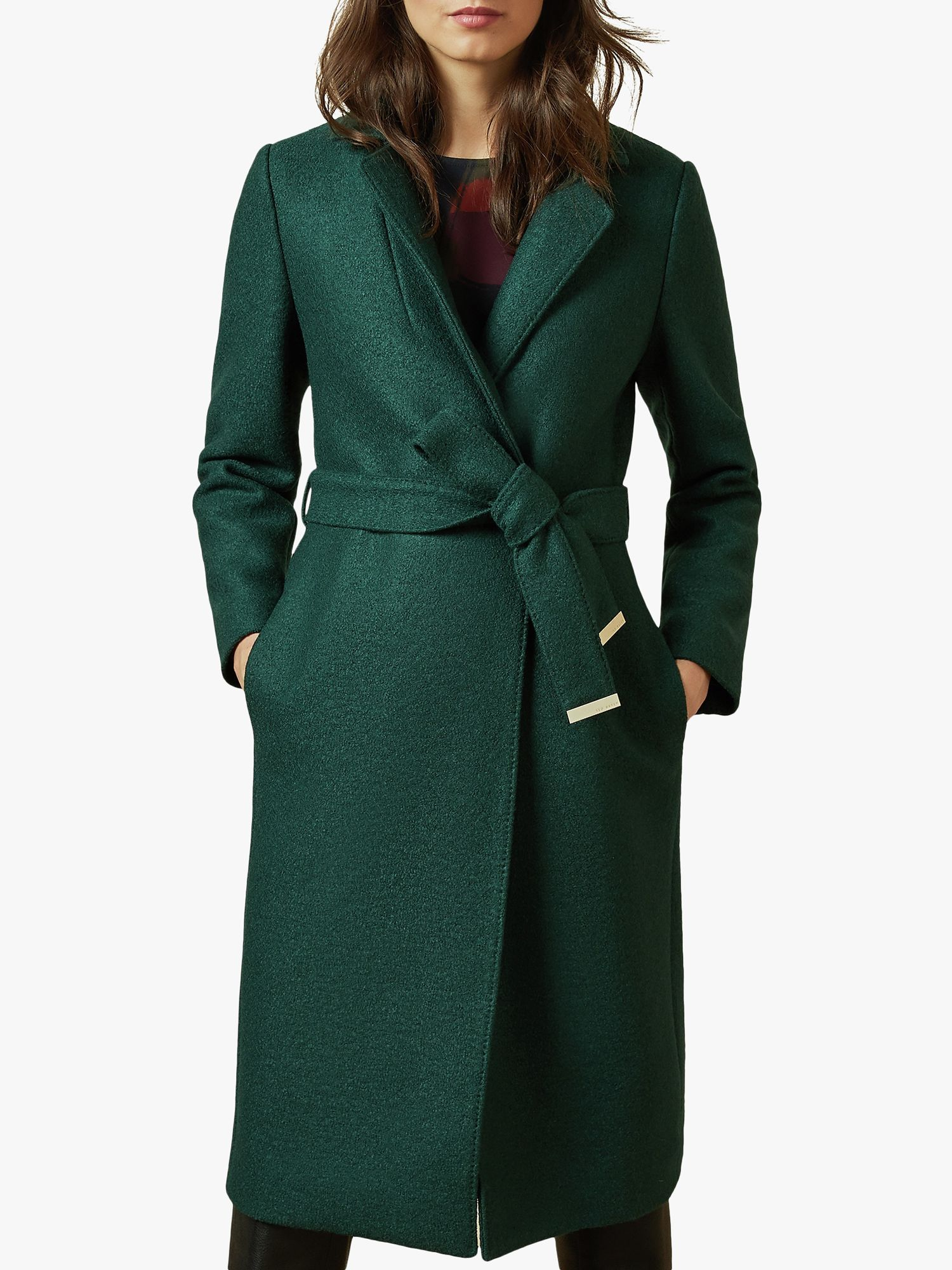 Ted Baker Ted Baker Chelsyy Wool Buttoned Wrap Coat, Dark Green