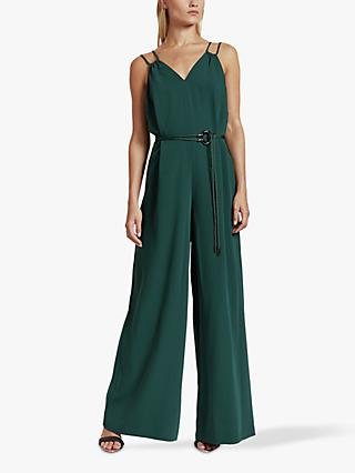 Ted Baker Rheya Cord Trim Wide Leg Jumpsuit, Dark Green