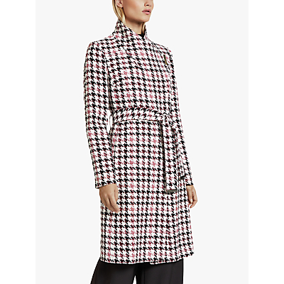 Image of Ted Baker Abellaa Houndstooth Belted Coat, White