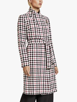 Ted Baker Abellaa Houndstooth Belted Coat, White